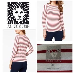 Ann Klein Stripped Red White Long Sleeve XL